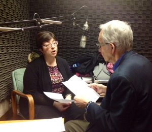 Julie Walchli, director of Arts Co-op at UBC, in studio with Ira Nadel.